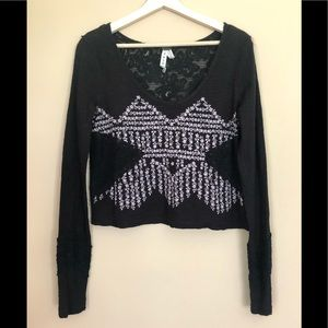We The Free People L/S Lace Embroidered Top Sz S